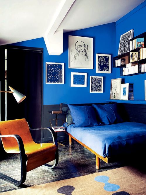 Royal Blue Black And Modern Interiors By Color