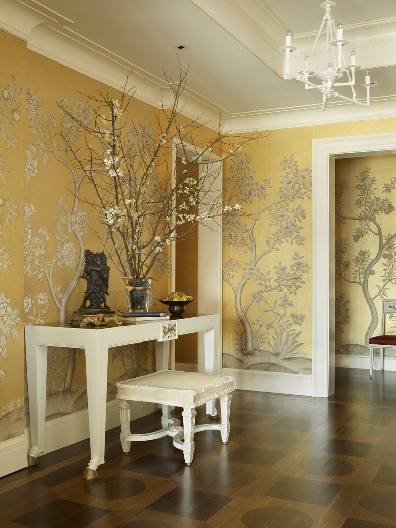 Golden Yellow Botanical Wallpaper Foyer Interiors By Color