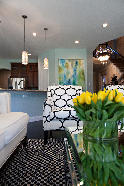 Blue Walls Teal And Yellow Accents Interiors By Color