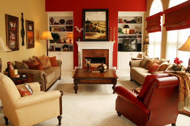 Red And Chairs Gold Accent