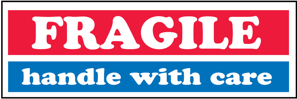"""""""FRAGILE - handle with care"""" 1"""" x 3""""- Red White and Blue"""