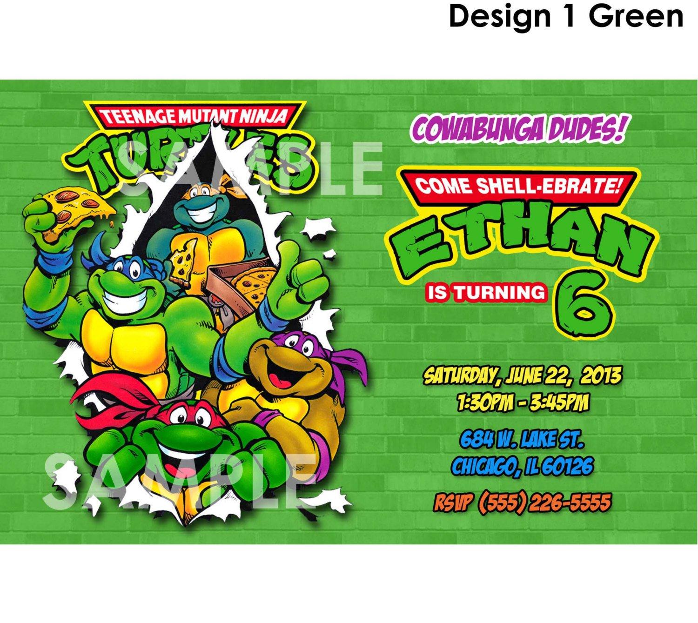 Ninja Turtle Birthday Invitation Wording