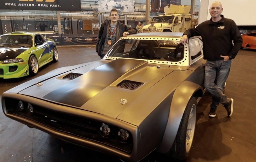 Fast   Furious Live  a sneak peak at the stunt spectacular heading     David Roy  left  with Fast   Furious Live stunt team leader Chris Burns and  the Ice Charger from The Fate of The Furious