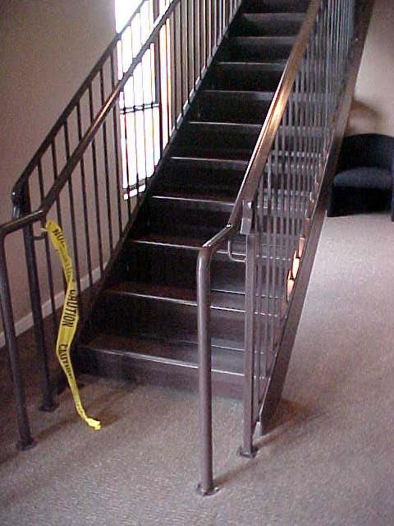 Straight Iron Stairs The Iron Anvil Salt Lake City Utah | Concrete Filled Metal Pan Stairs | Staircase | Wood | Edge | 5 Flight | Detail