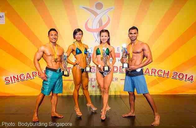 The winners (from left): Ben Chia (Men's Physique; 18-29 years old), Caethrin Unjoto (Miss Bikini Fitness; 18-29 years old), Madeleine Png (Miss Bikini Fitness; above 30) and Deepak Parida (Men's Physique; above 30).