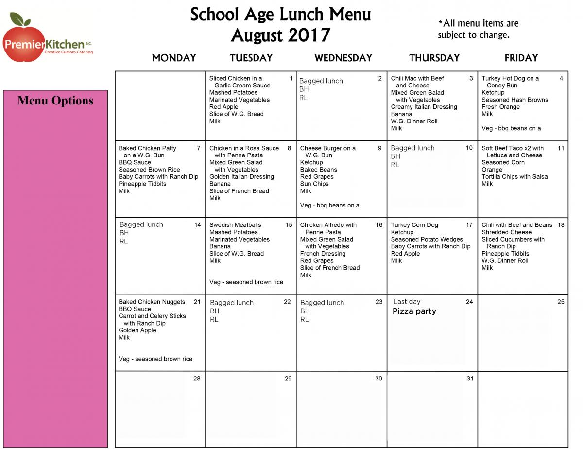 Lunch Menu Isd 709