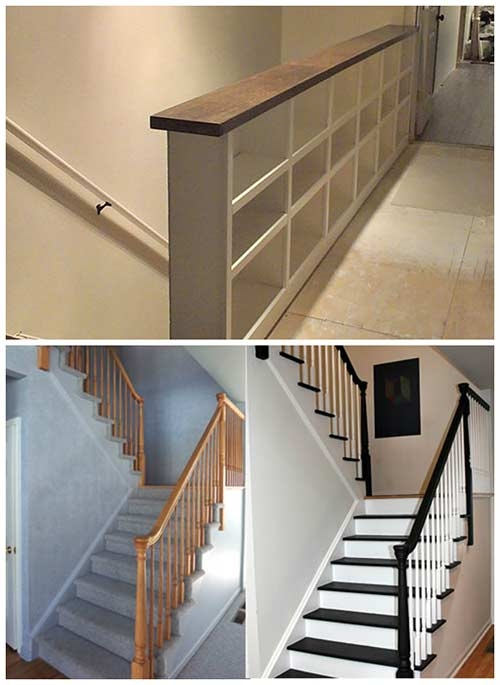 Diy Stair Railing Projects And Makeovers – Iseeidoimake | Building A Stair Rail | Craftsman Style | White | Horizontal | Glass | Inexpensive