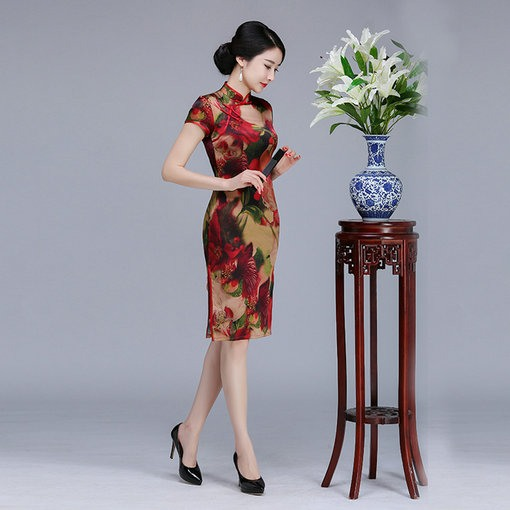 Silk Short Chinese Dress Cheap Prom Dressevening Dress Wedding