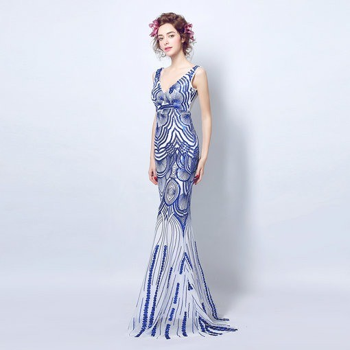 V Neck Blue Evening Gown Formal Evening Gown Cheap Prom Dress