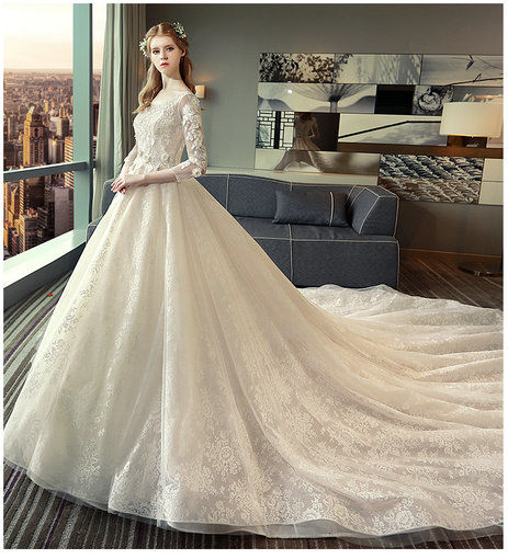 Lace Bridal Gowns With Long Train Long Sleeves Wedding Dress - Cheap ...