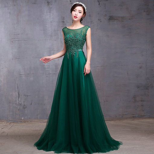 A Line Green Evening Gown With Train Formal Evening Dress Online