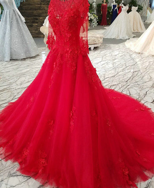 Ball Gown Long Sleeve Wedding Dress Hand Made Bridal Gown