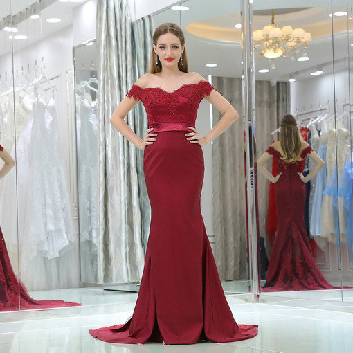 Off The Shoulder Mermaid Red Formal Lace Evening Dress With Train