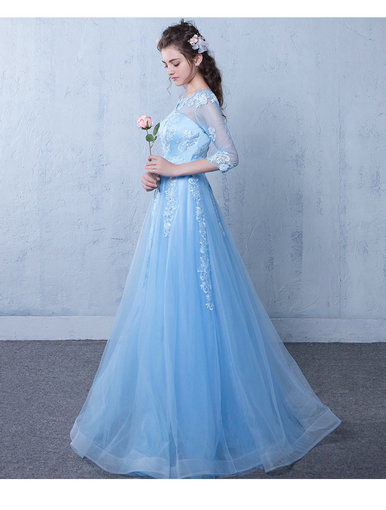 Affordable A Line Prom Dress Long Sleeve Light Blue Party Dress ...