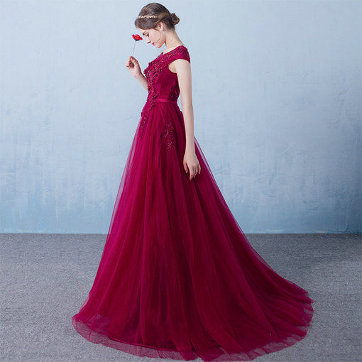 Off Shoulder Aline Red Evening Dress Party Dress For Sale - Cheap ...