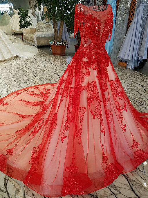 A line red wedding dress haute couture bridal dress with train red wedding dress 0472 06 junglespirit Choice Image