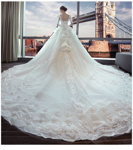 Affordable off the shoulder lace wedding dress floor length long wedding dress long train 391 09 junglespirit Images