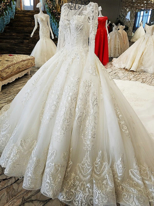 Ball Gown Long Sleeve Wedding Dress Hand Made Bridal Gown For Sale