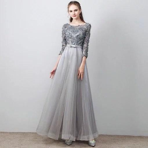 Aline Prom Dress Grey Long Evening Dress Plus Size