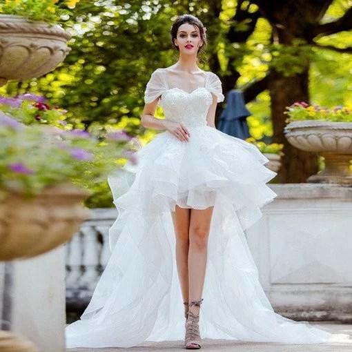 High Low Wedding Dress White Lace Princess Bridal Dress