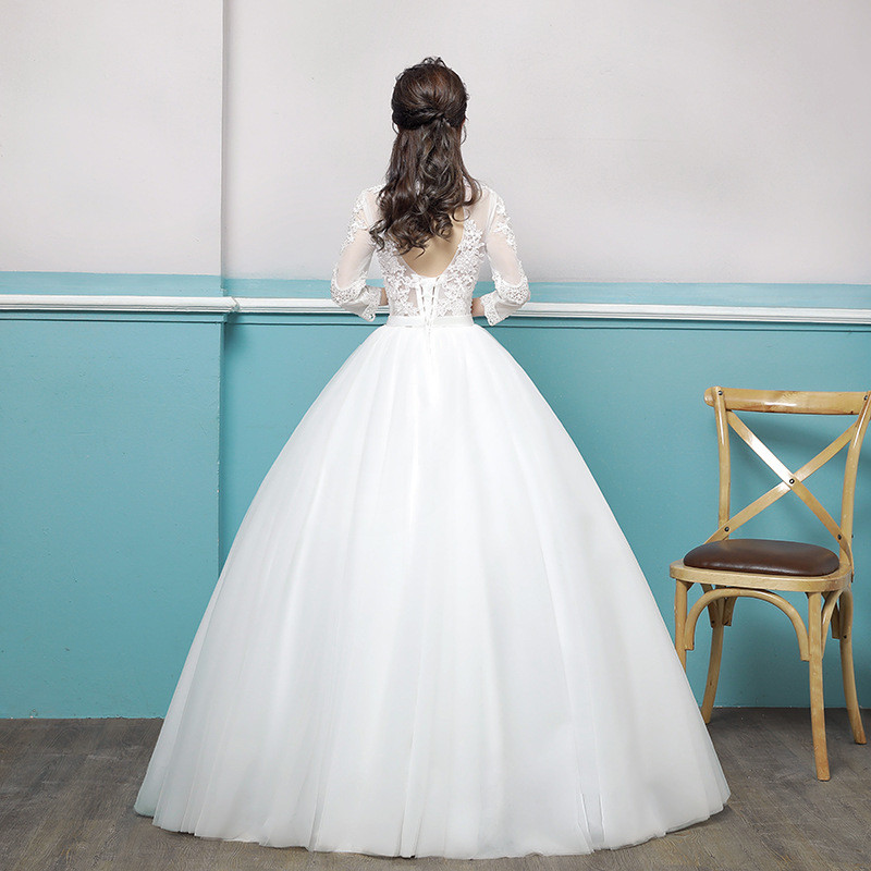 Wedding Dress Lace Sleeves Round Collar Ivory Girls Dress