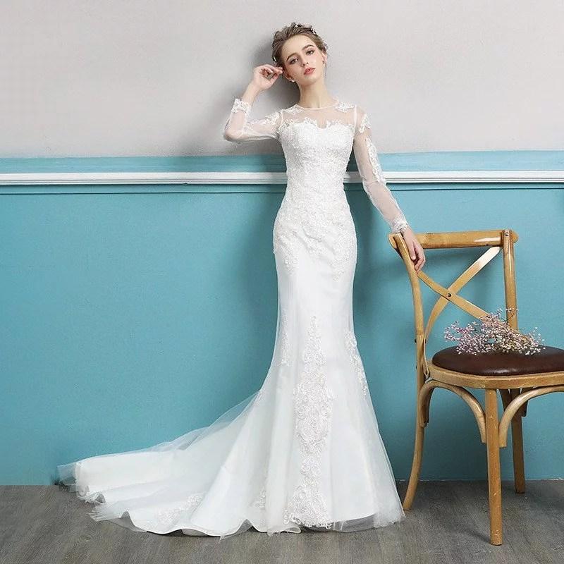 Wedding Dress Long Sleeve Mermaid Lace Bridal Dress Wholesale
