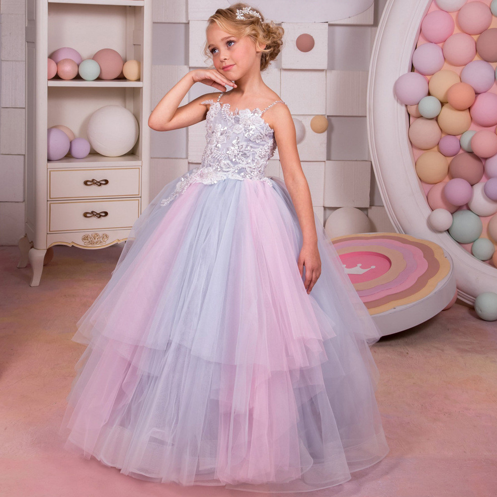 Ball Gown Flower Girl Dresses Spaghetti Strap Rainbow colors