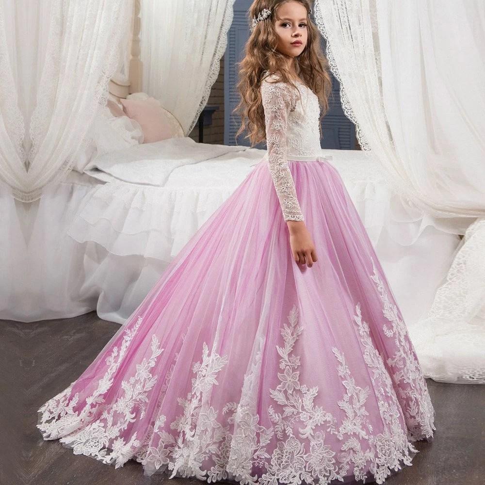 Wedding flower girl dresses pink lace long sleeve wedding flower girl dresses 06080002 mightylinksfo