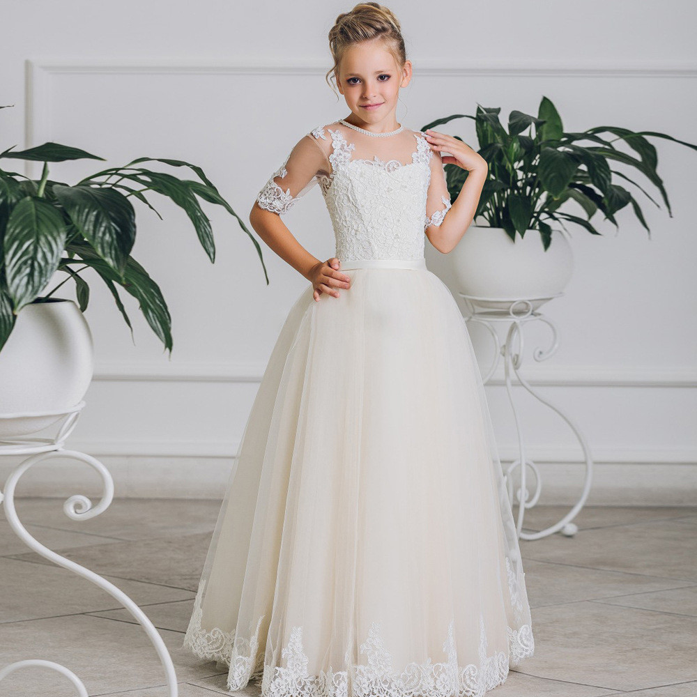 Flower Girl Dress Toddler White A Line Lace Girls Party Dresses