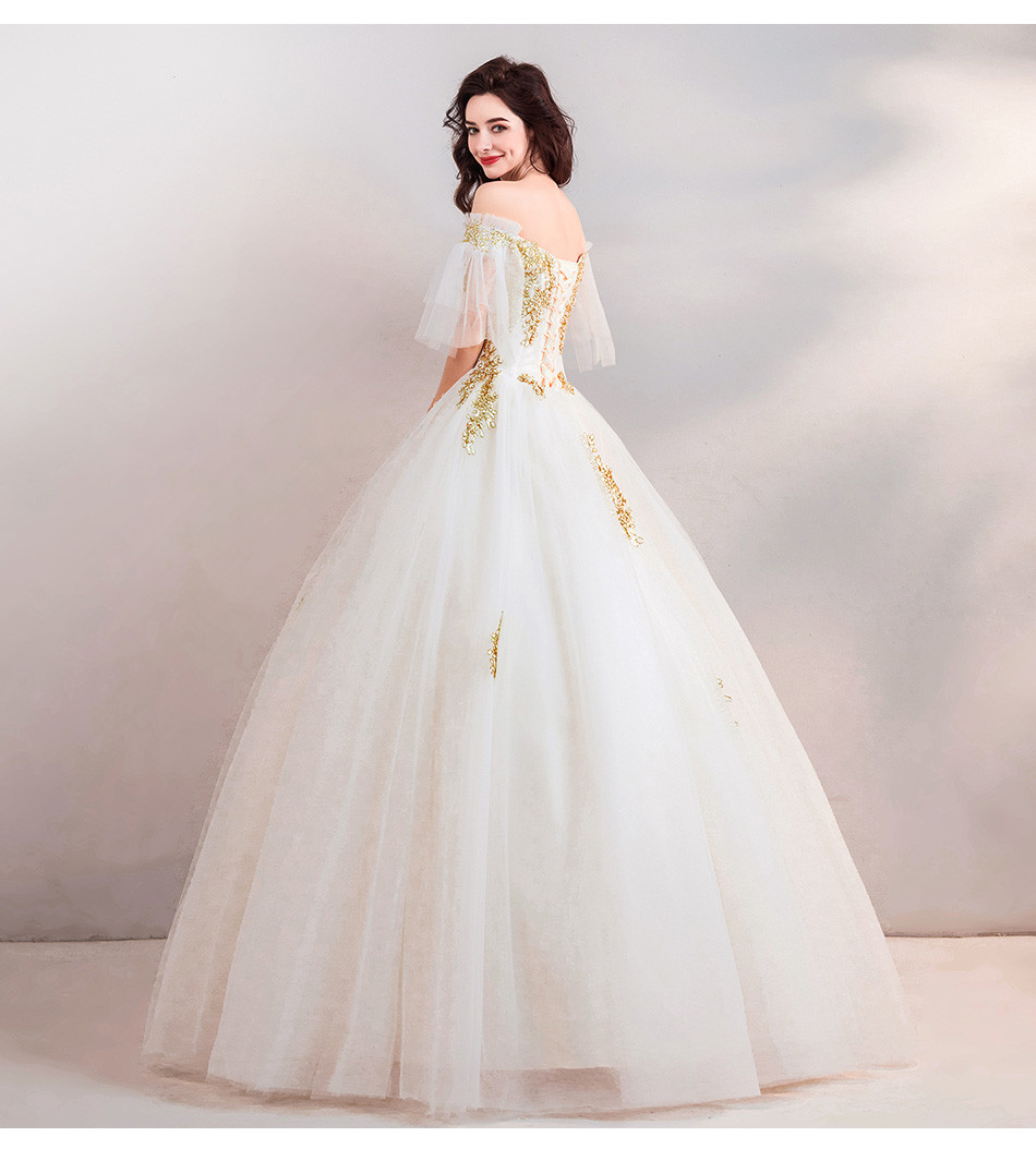 Gold And White Wedding Dress Sweetheart Necklice Sale