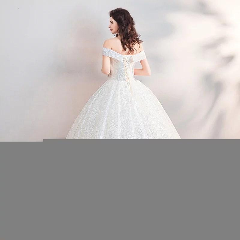Bling Wedding Dress Off The Shoulder Ball Gown Bridal Dress