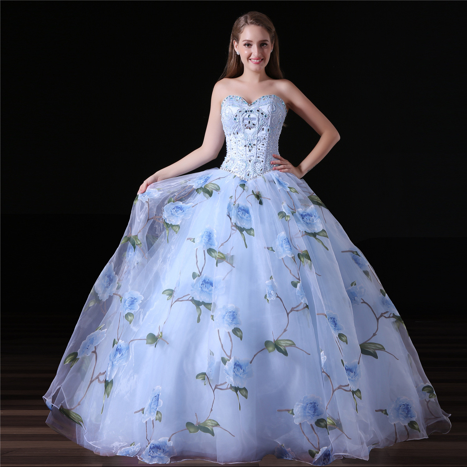 Blue Ball Gown Prom Dress Sweetheart Princess Girls Gowns