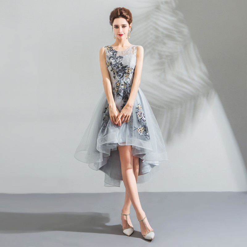 High Low Dress Grey Lace Embroidery Prom Cocktail Dress