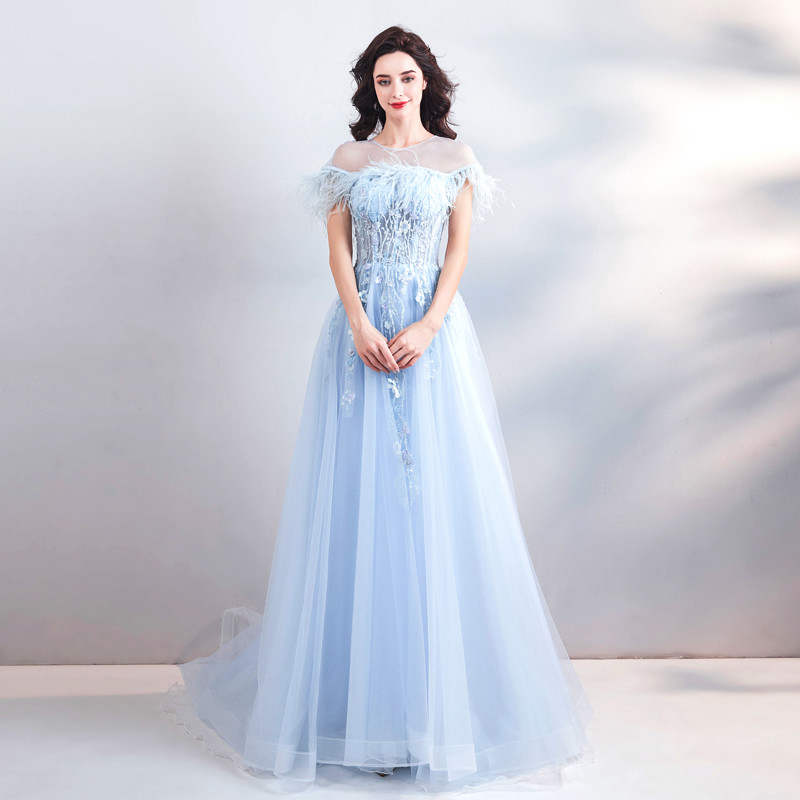 Light Blue Formal Dress Scoop Neck A Line Long Prom Dress