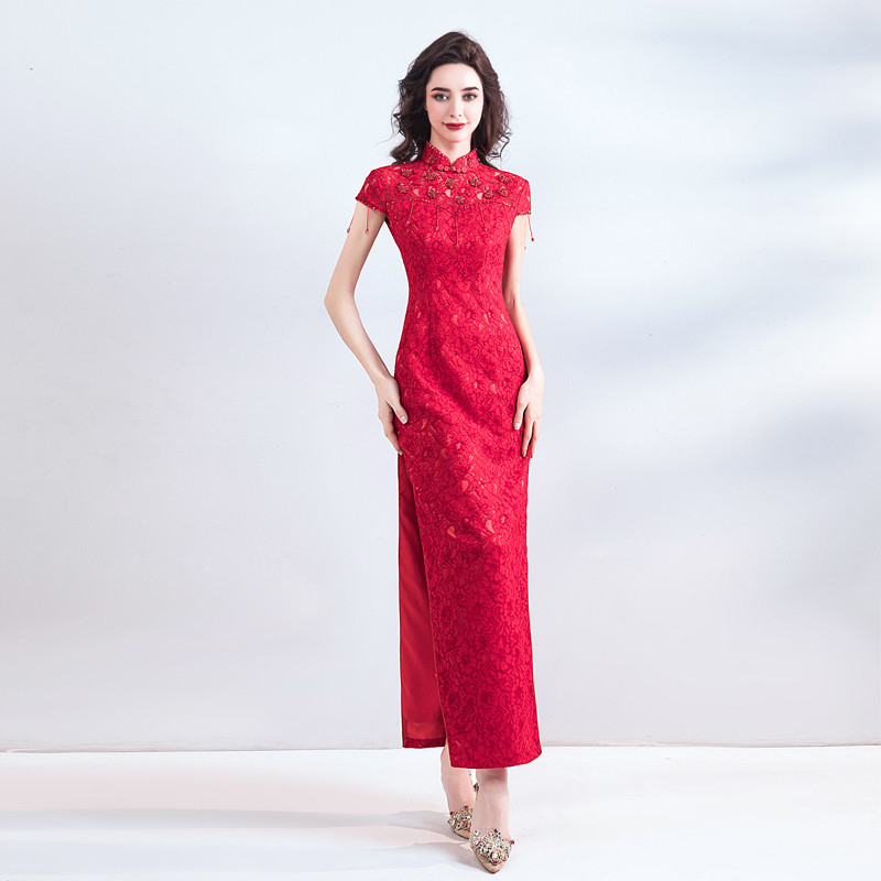 Red Lace Formal Dress Ankle Length Chinese Qipao Slit