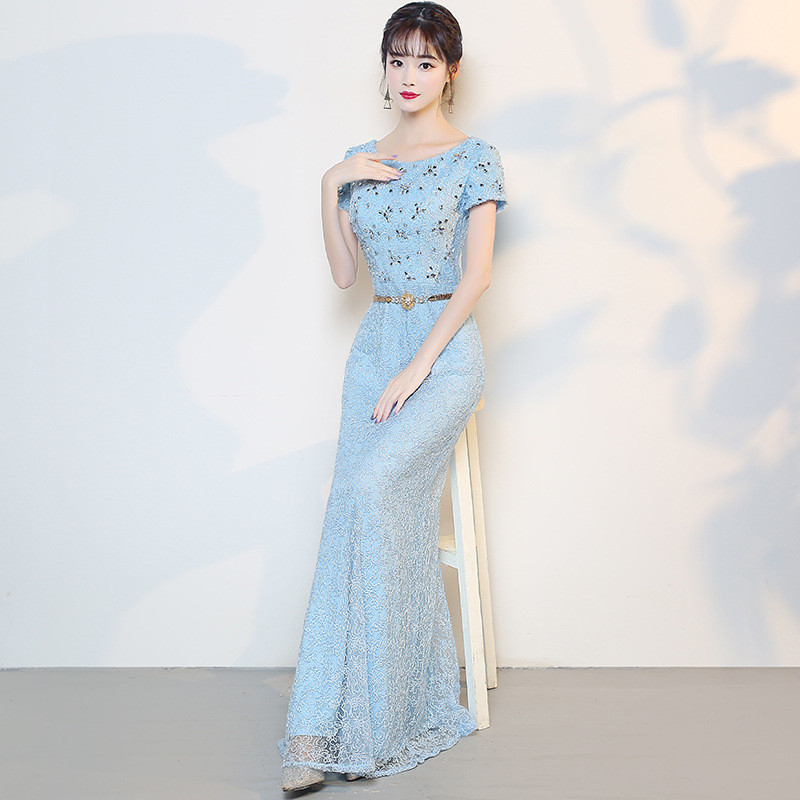Baby Blue Prom Dress Mermaid Affordable Evening Dress
