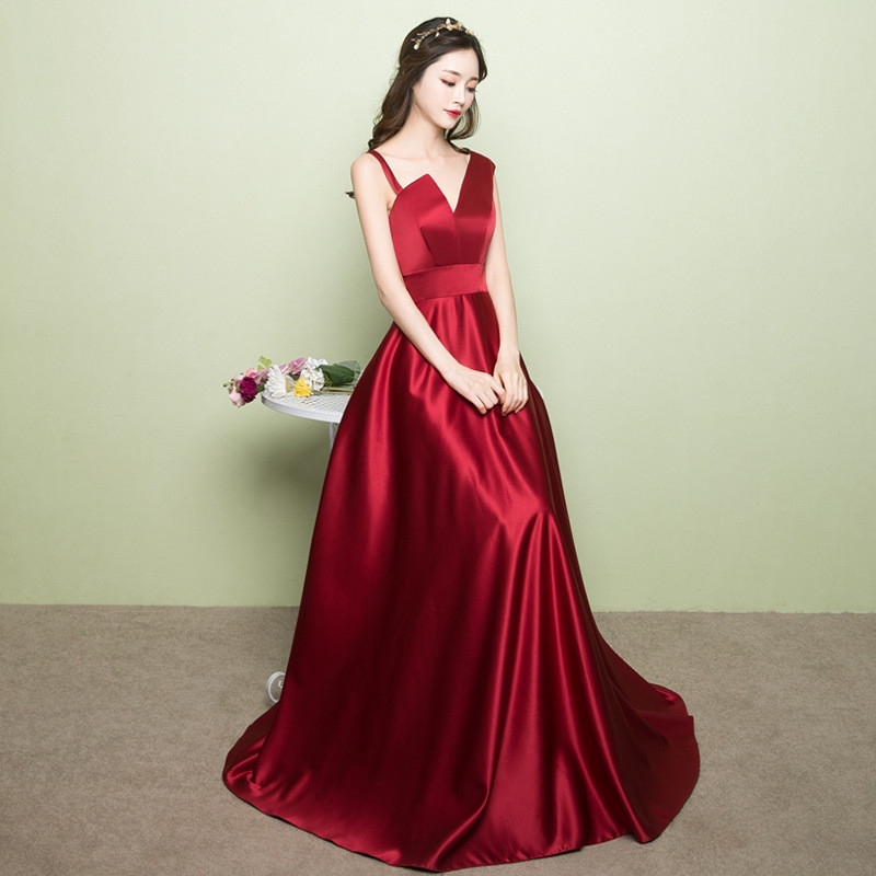 Cheap Red Prom Dress Strap A Line Long Evening Dress
