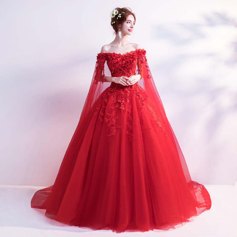 Wedding Dress With Cape Train Red Ball Gown Princess