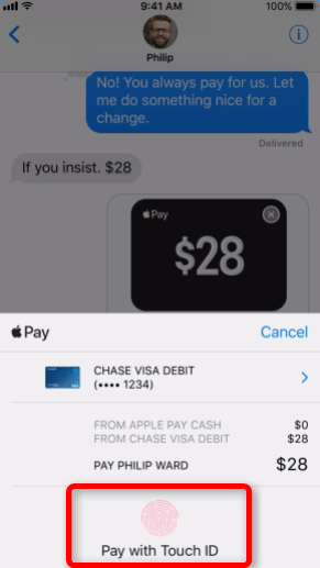 Directly Send Money to Friends via Apple Pay through iOS 11 Messages iOS 11 Messages support Apple Pay   pay with Touch ID  Image Credit  Apple
