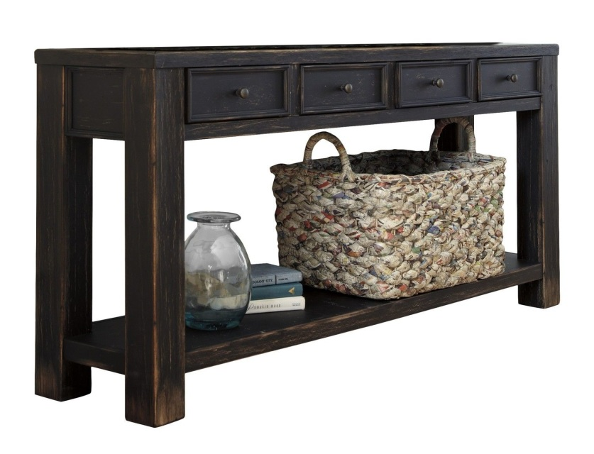Console Table For Entryway With Storage Drawers Sofa Black