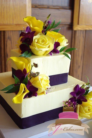 Beautiful and Delicious Wedding Cakes in CT  1054  Purple and Yellow Square Wedding Cake