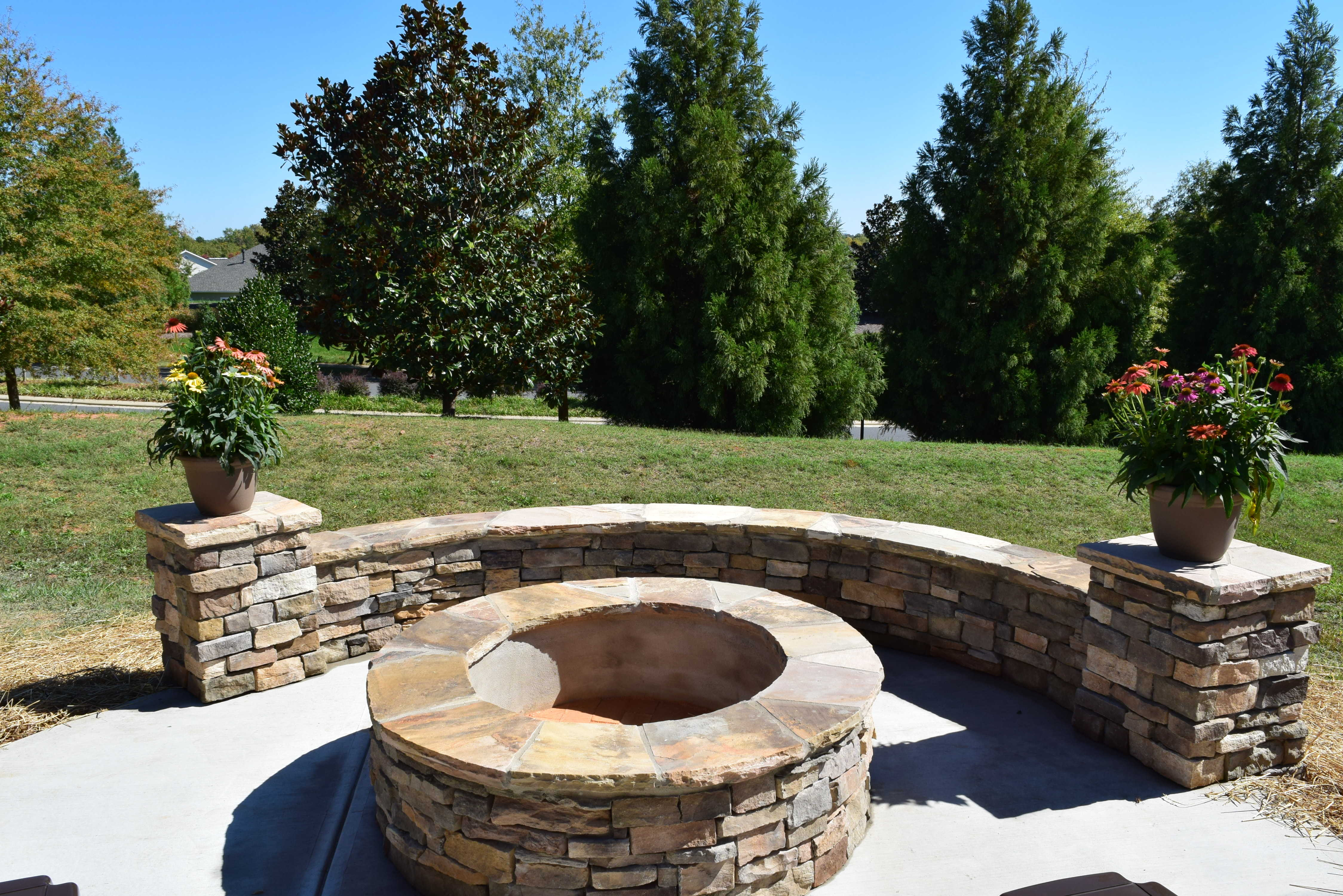 Charlotte Screen Porch Amp Patio With Stone Fire Pit