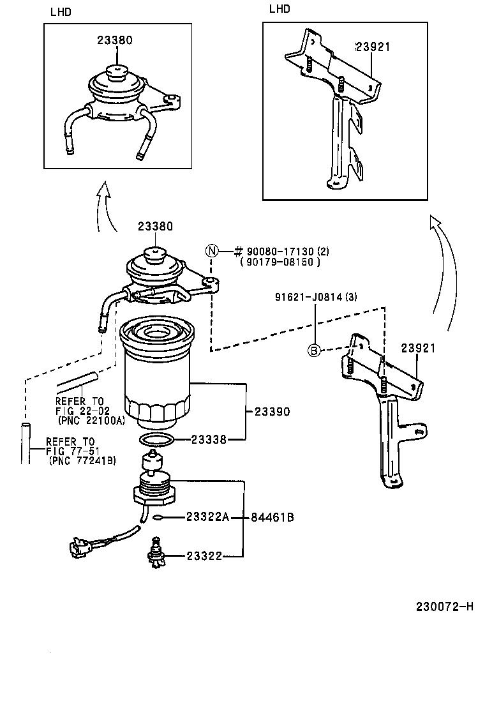 Toyota hiluxln166l prmdsv tool engine fuel fuel filter japan 230072h 2302 fuel filter yaris engine diagram showing fuel filter