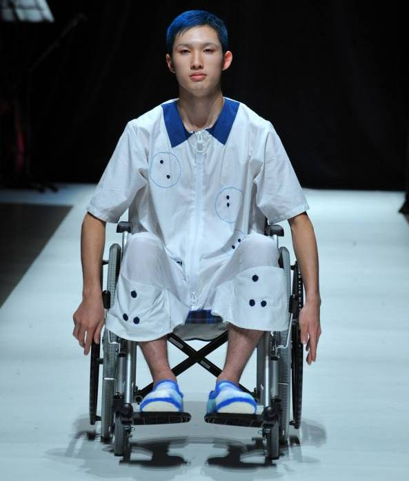 Is Japanese fashion ready to make a point    The Japan Times A Ha Ha 2015 runway show included models in wheelchairs