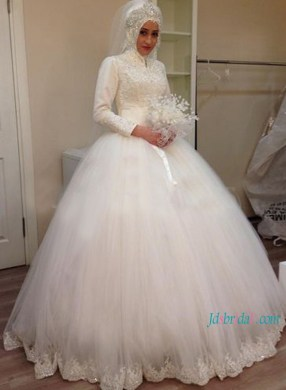 H1179 Islamic high neck long sleeves tulle ball gown wedding dress   H1179 Islamic high neck long sleeves tulle ball gown wedding dress