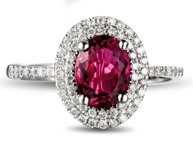 2 50 Carat Pink Sapphire And Diamond Double Halo Classic Engagement Ring For Women Jeenjewels