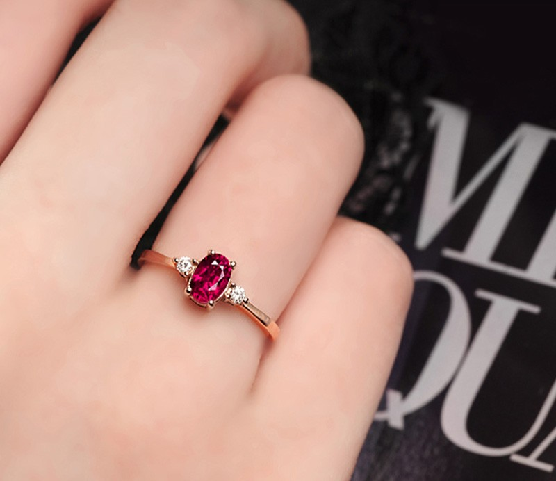 1 Carat Trilogy Ruby And Diamond Engagement Ring In Rose Gold Jeenjewels