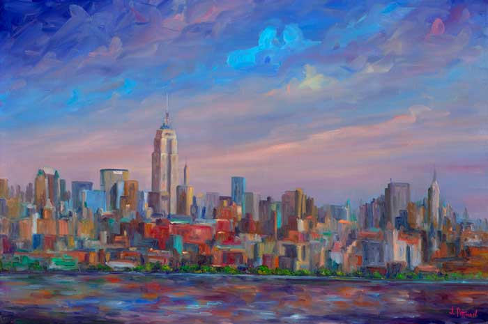 New York Skyline Painting and Prints twin towrs WTC Trade Center NYC Skyline Oil painting canvas limited edition  prints