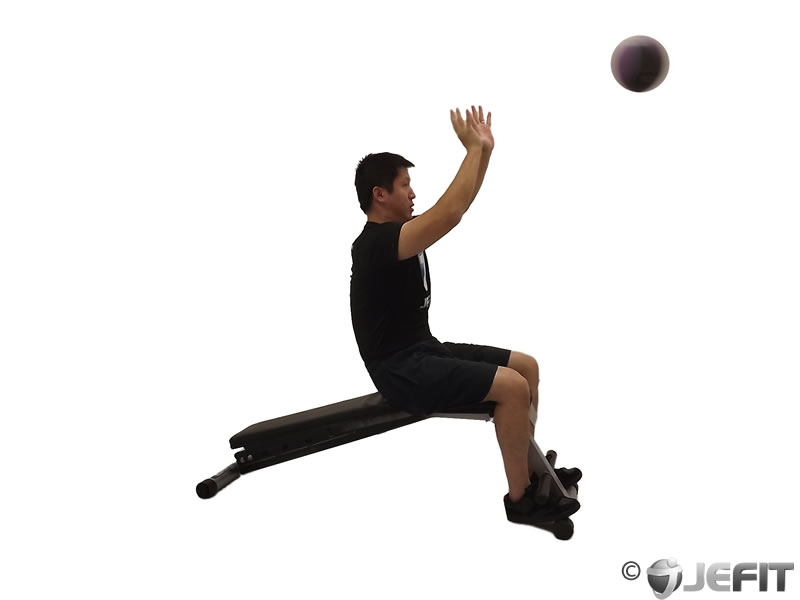 Medicine Ball Decline Two Arm Overhead Throw Exercise