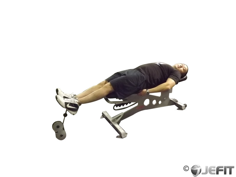 Lying Cable Knee Raise On Bench Exercise Database